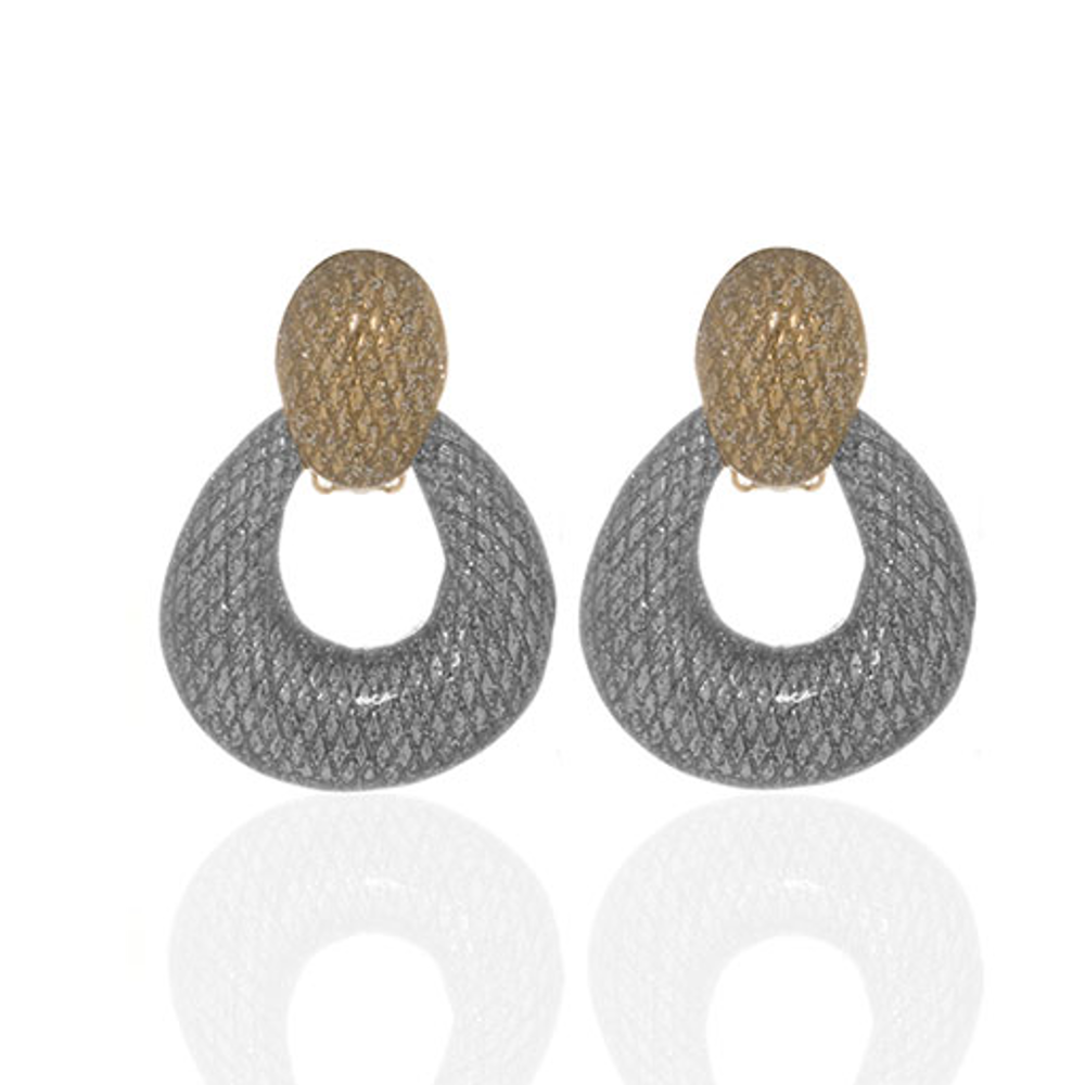 Two Tone Stardust Doorknocker Earrings