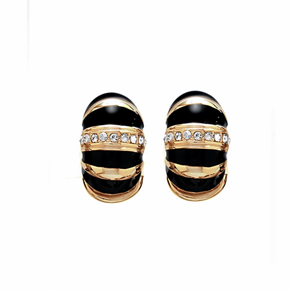 Gold Tone Black Segmented Reversible Hugs®