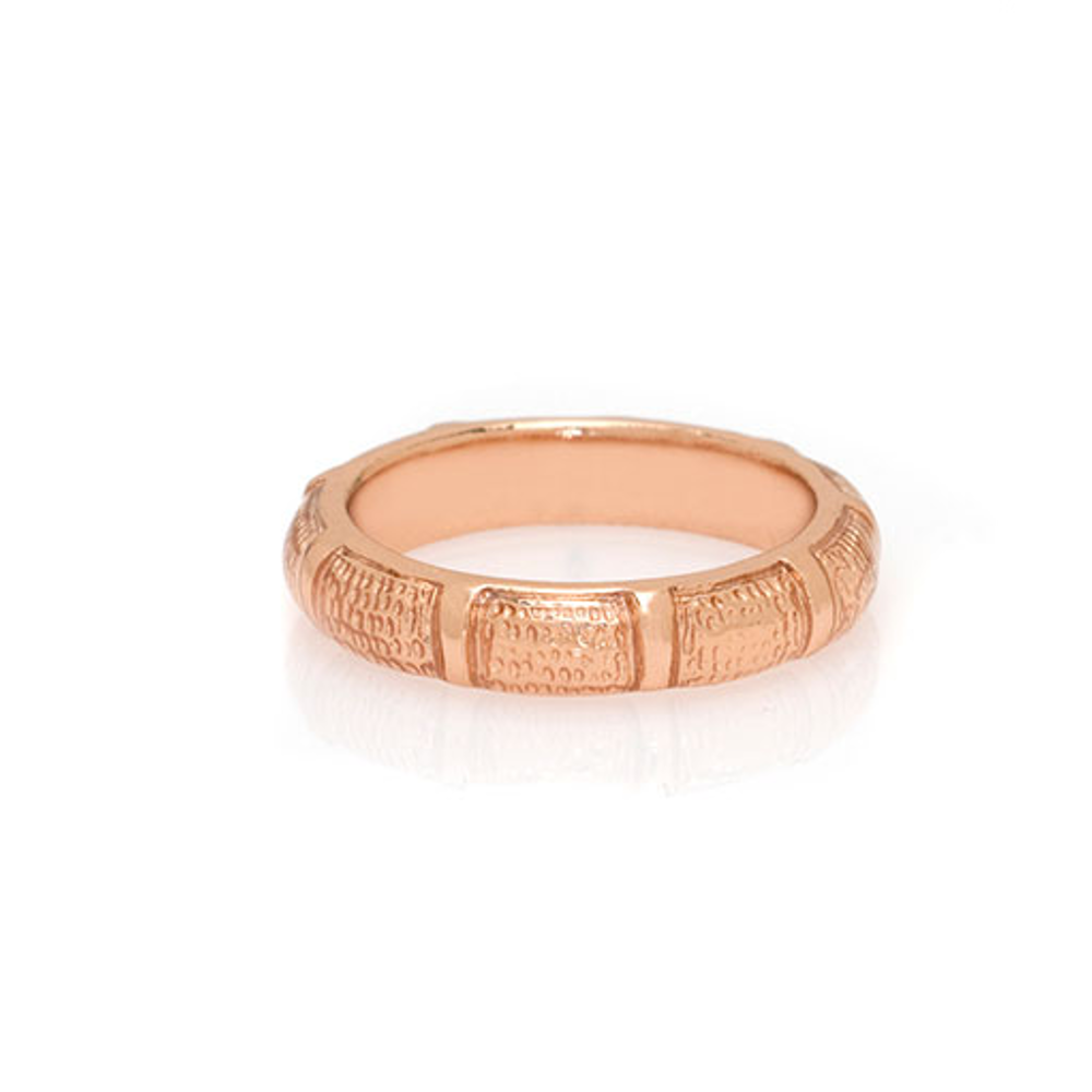 Rose Gold Snakeskin Segmented Bamboo Ring
