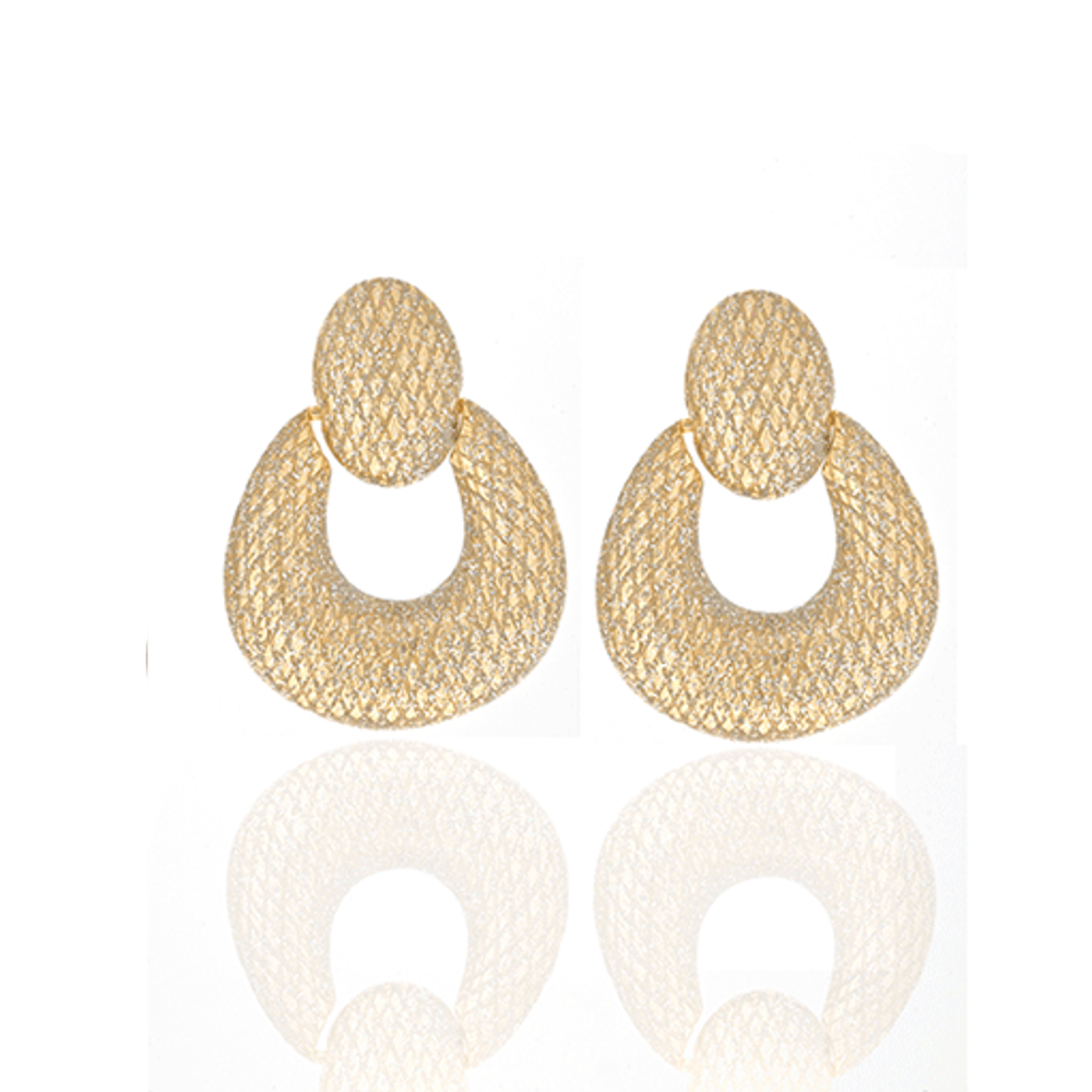 Stardust Gold Open Tear Drop Earrings