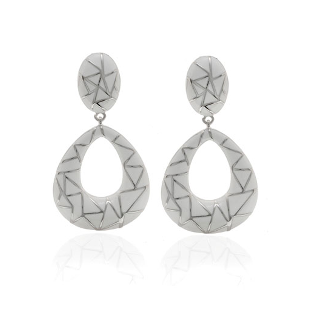 White Italian Riviera Open tear Drop Earrings