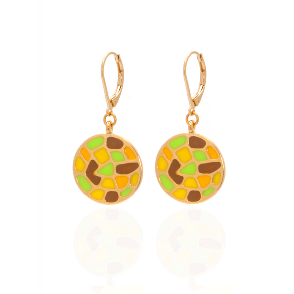 Multi Color Yellow Green Round Earrings