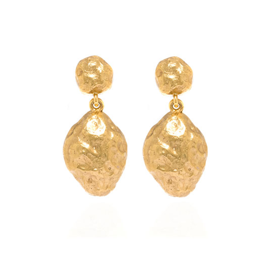 Molten Gold Nugget Drop Earrings