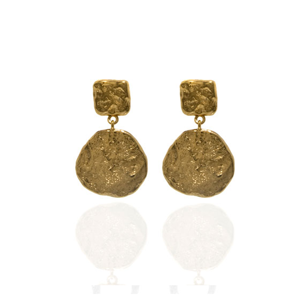Molten Gold Round Small Drop Earrings