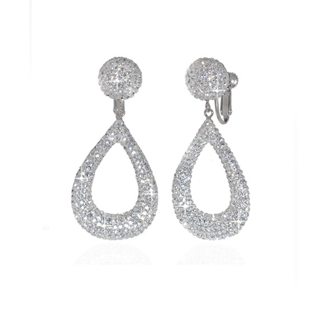 Clear Crystal Small Open Tear Earrings