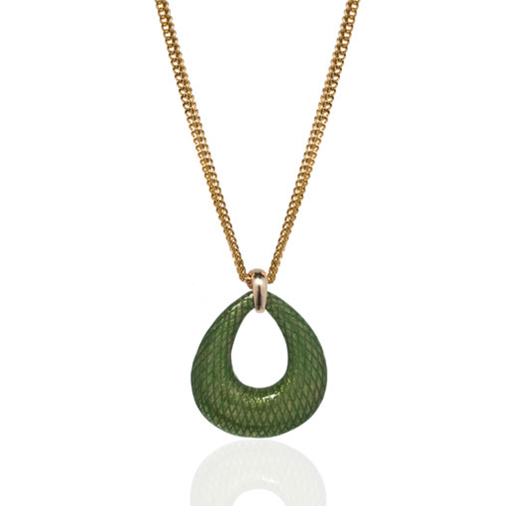 SnakeSkin Green Open Tear Pendant Necklace