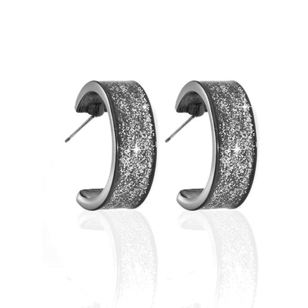 Stardust Hematite Hoop Earrings