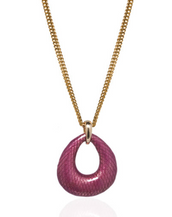 Snakeskin Fuchsia Open Tear Pendant Necklace