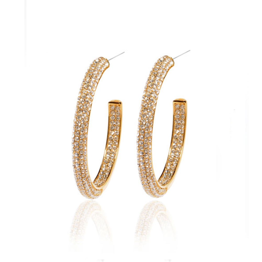 Gold Tone & Austrian Crystals Hoop Earrings