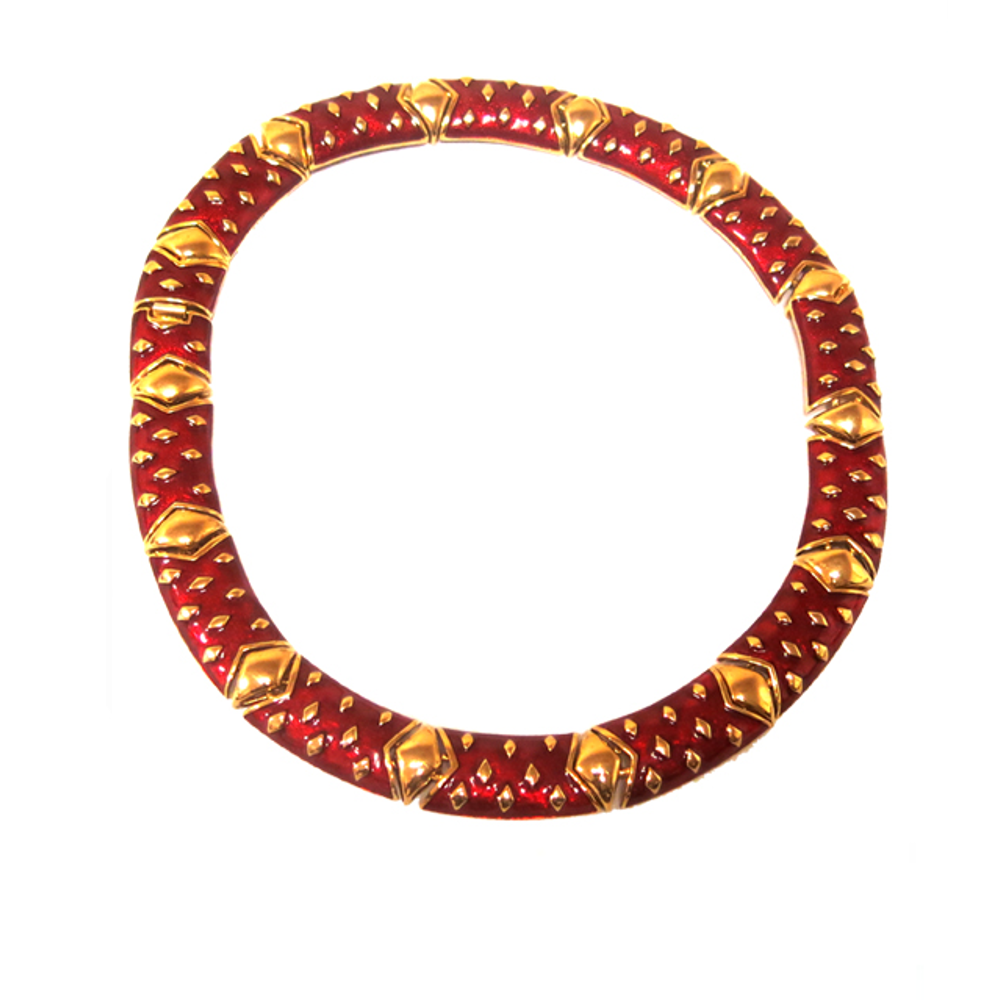 "18"" 22k Gold Plate & Red Enamel Necklace"