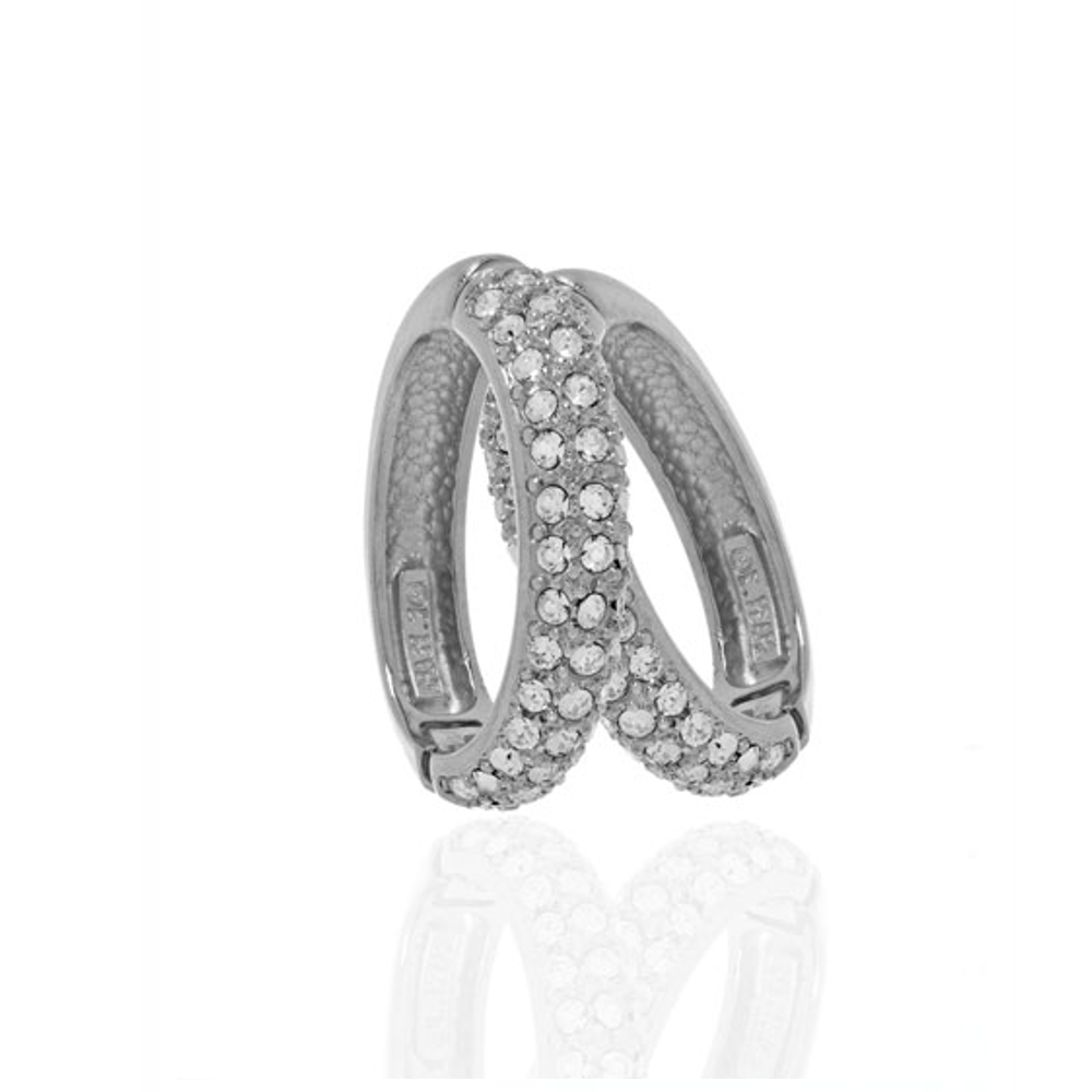 Pave Silver Tone Hoop-Eze Earrings