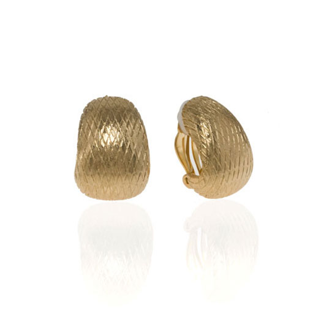 Snakeskin Goldtone Button Earring