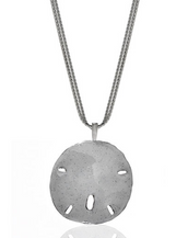 Stardust White Enamel Sand Dollar On Double Chain Necklace