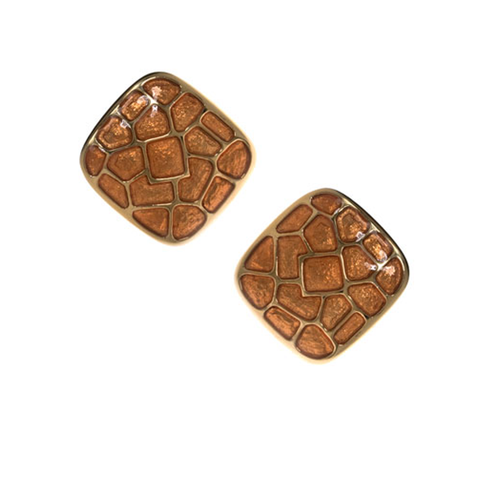 Italian Riviera Brown Square Button Earrings