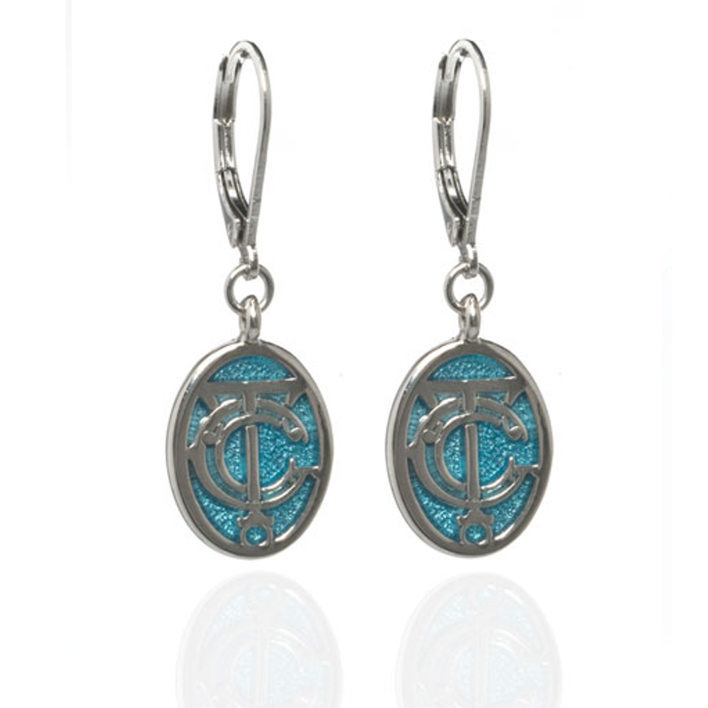 Grand Central Celestial Blue Silvertone Drop Earrings