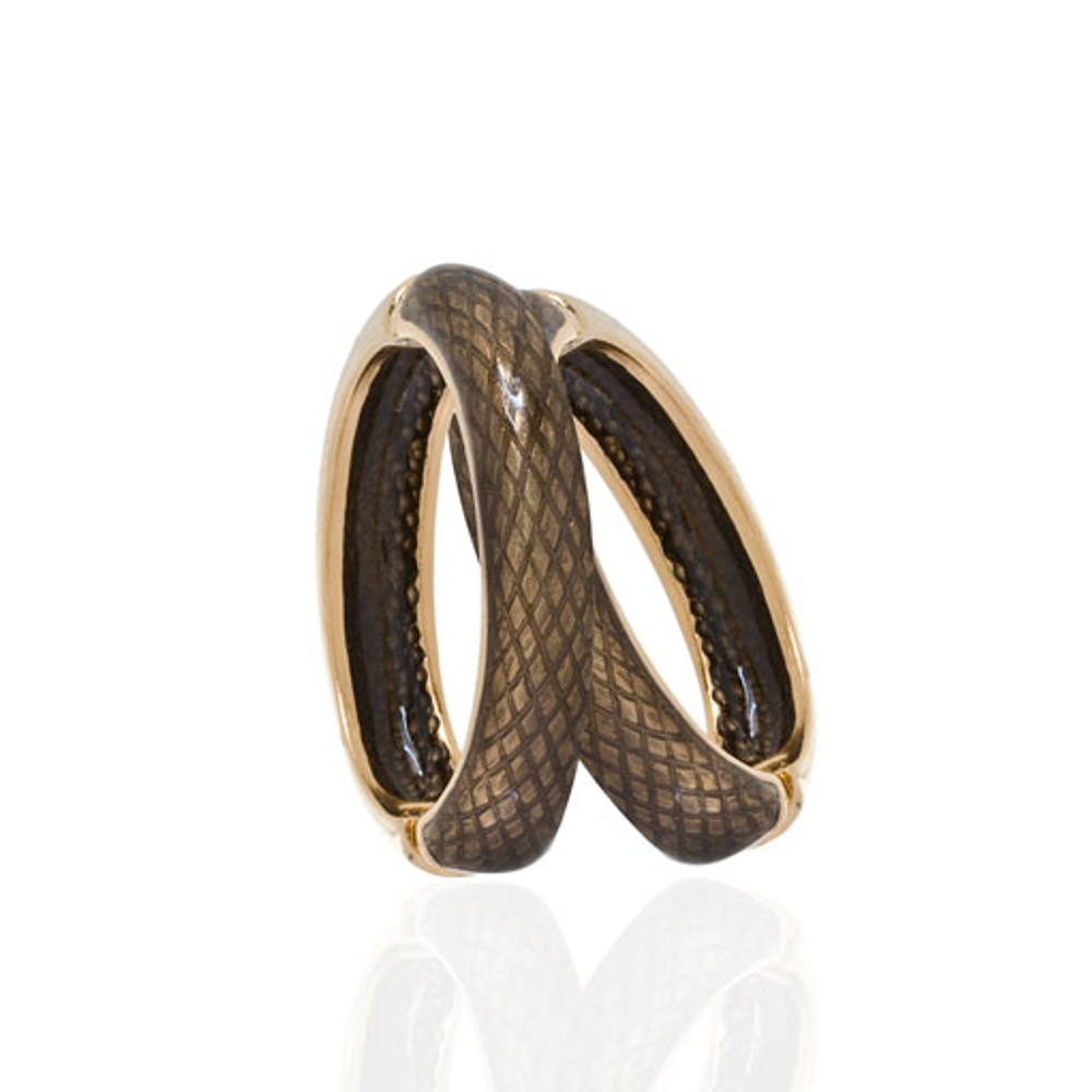 Snakeskin Brown Hoop-Eze Earrings