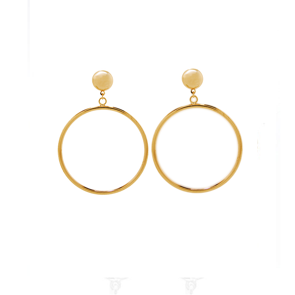 Door Knocker Hoop Earring Gold Tone