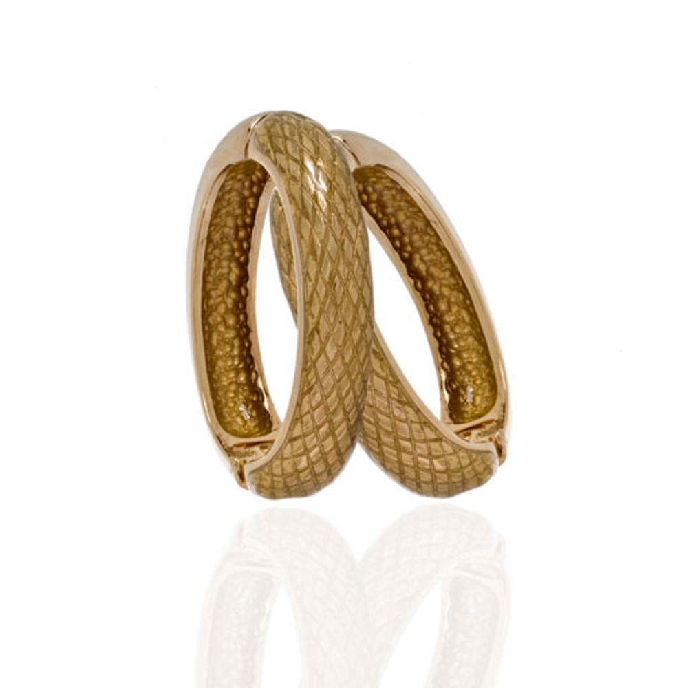 Snakeskin Mustard Hoop-Eze Earrings