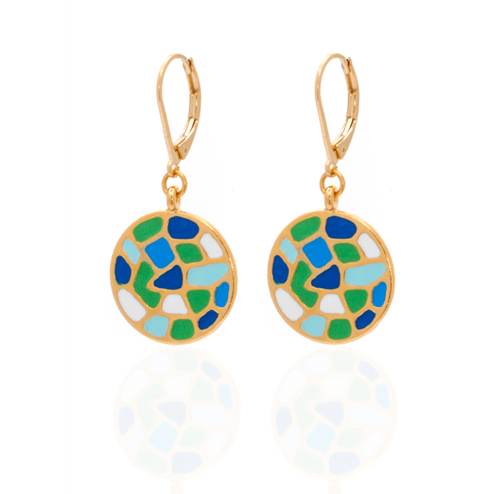 Multi Color Blue Green Round Earrings