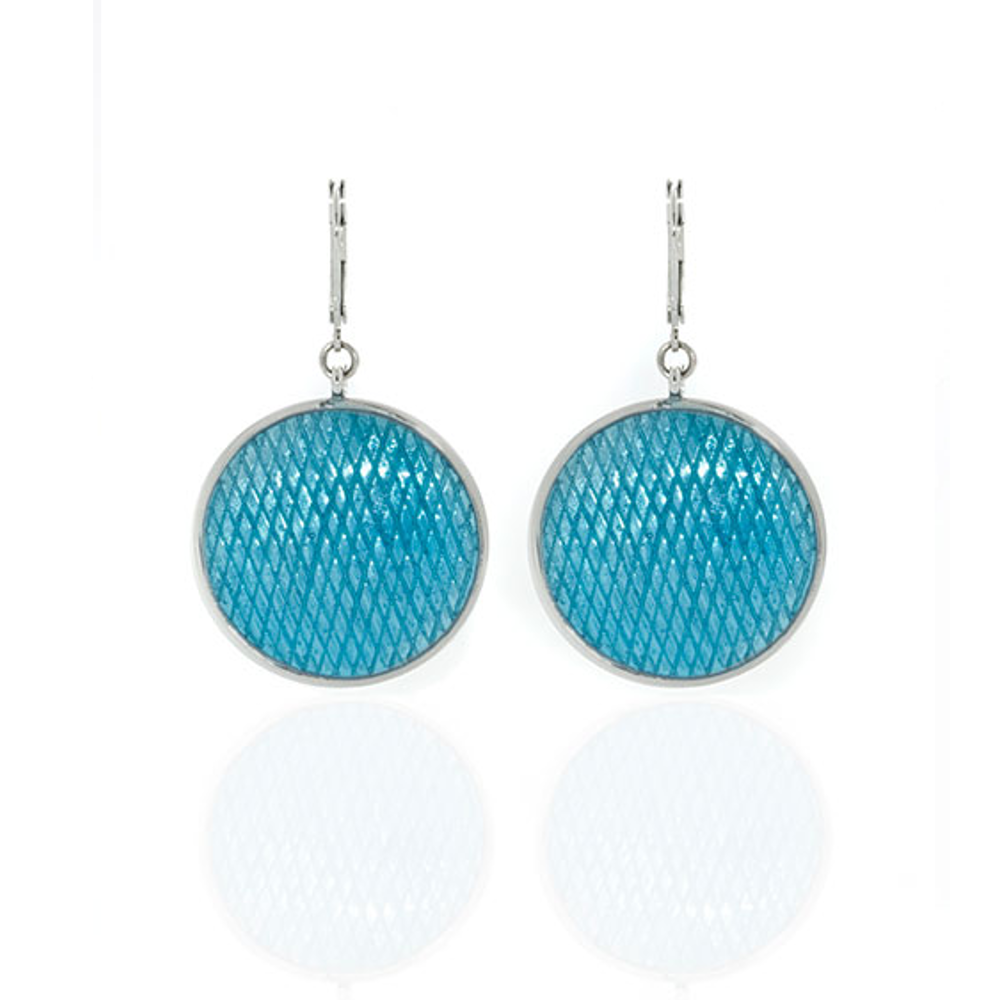 Celestial Blue Large Snakeskin Disc Earrings