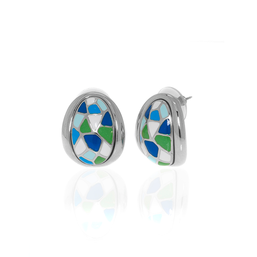 Silvertone Multi Color Blue green Earrings