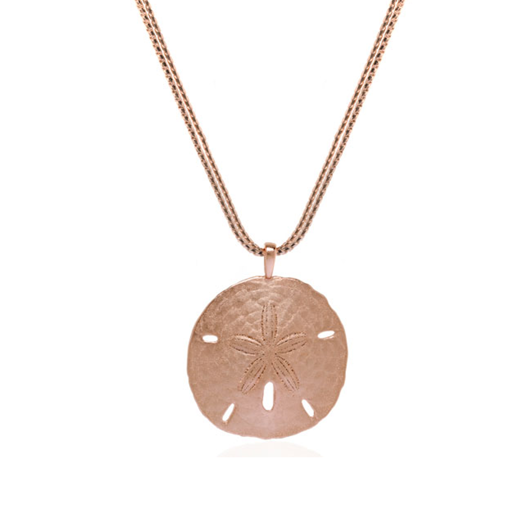 Rose Tone Sand Dollar On Double Chain Necklace