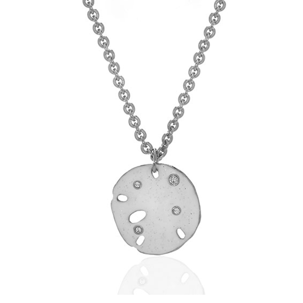 Stardust White Silvertone Sand Dollar Small Disc Necklace