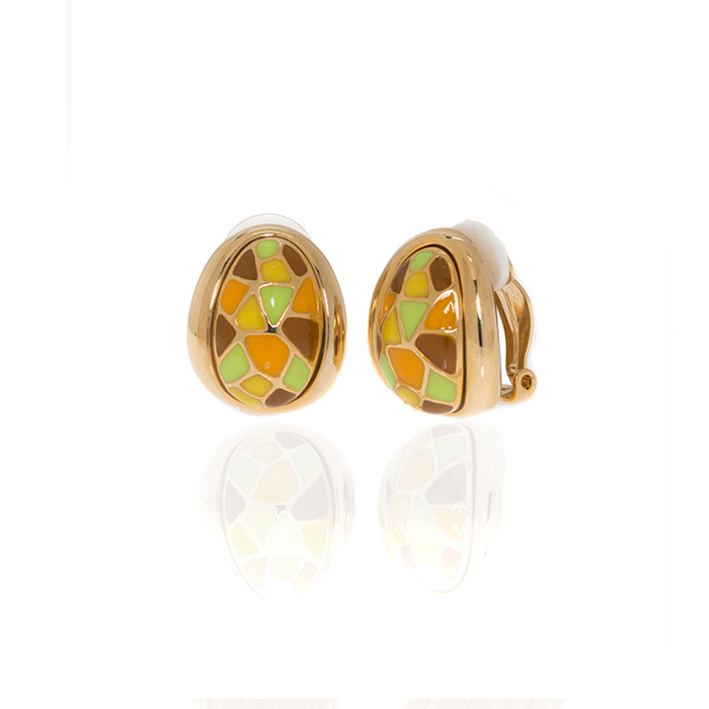 Goldtone Multi Color Yellow Green Earrings