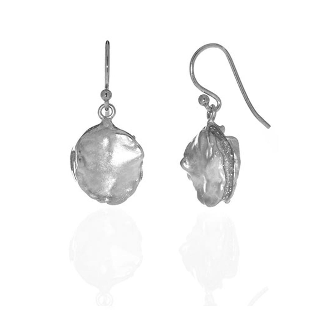 Matte Silver Tone Round Drop Earring on French Wire
