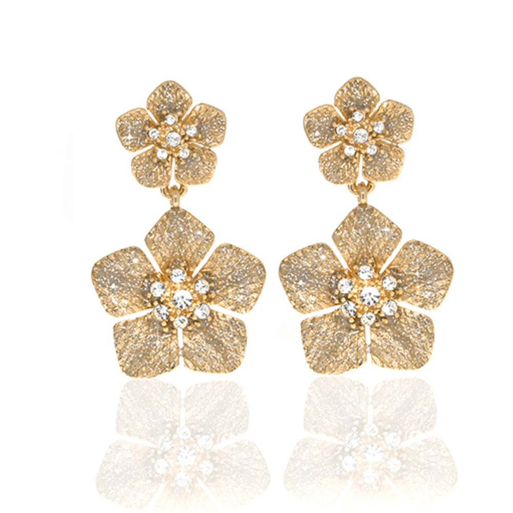 Stardust Gold Flower Drop Earrings