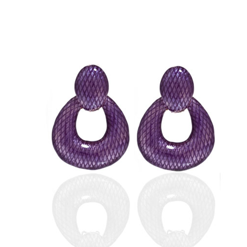 Snakeskin Amethyst Open Tear Drop Earrings