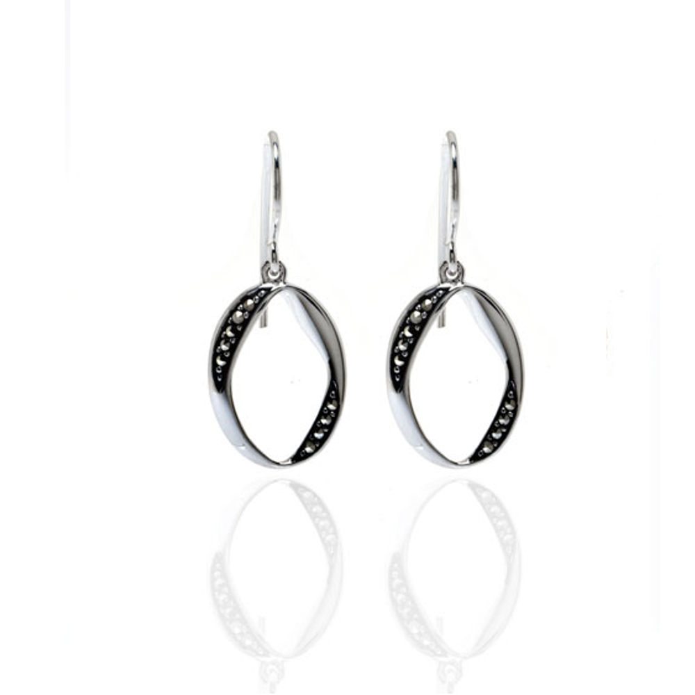 Curved Oval Drop Earrings