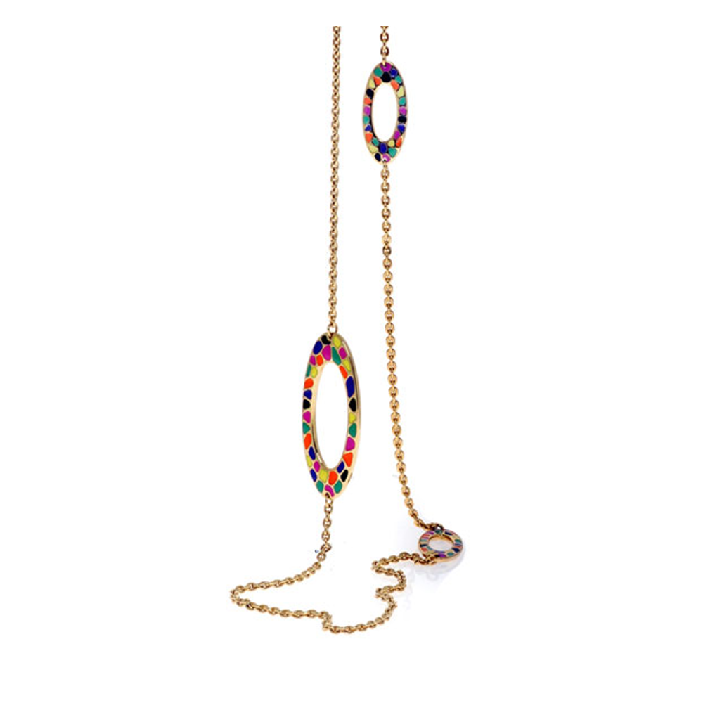 Multi Color Enameled Oval Chain Necklace