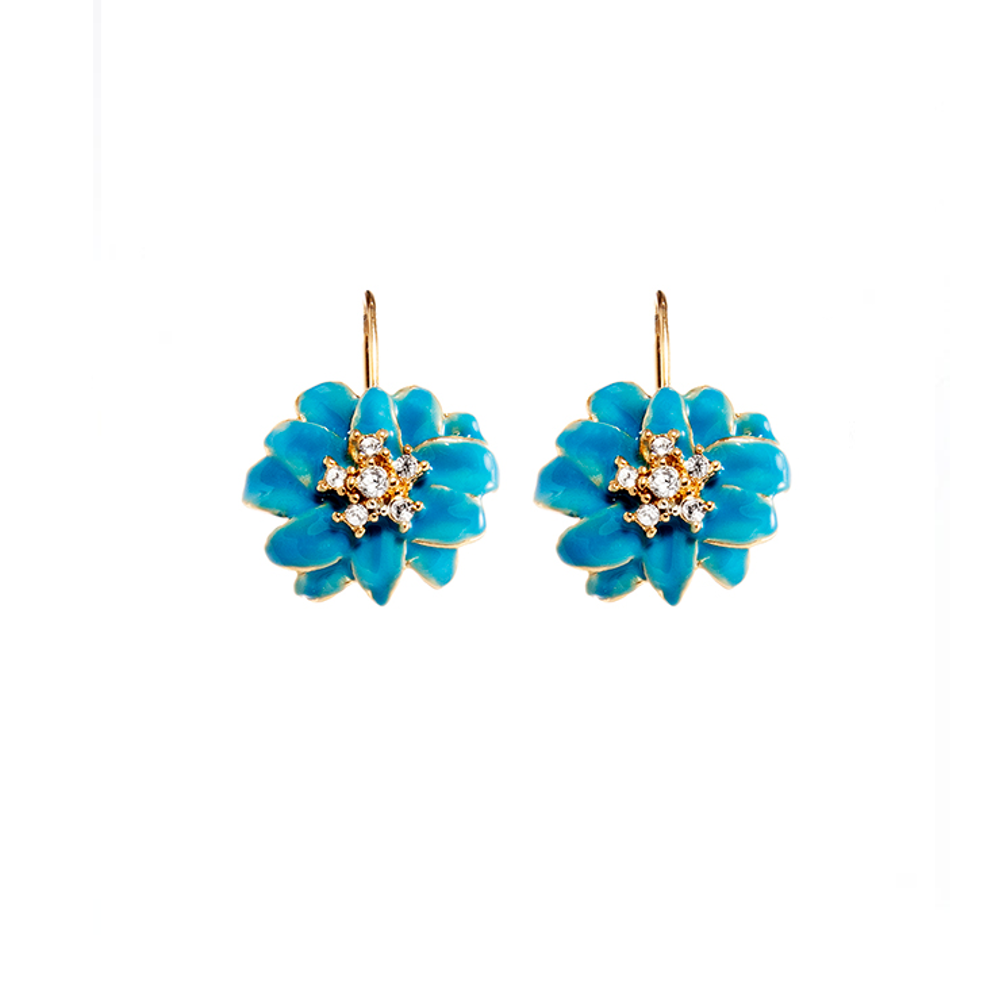 Blue Flower Euro-Wire Earring