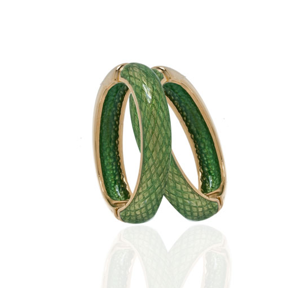 Snakeskin Green Hoop-Eze Earrings