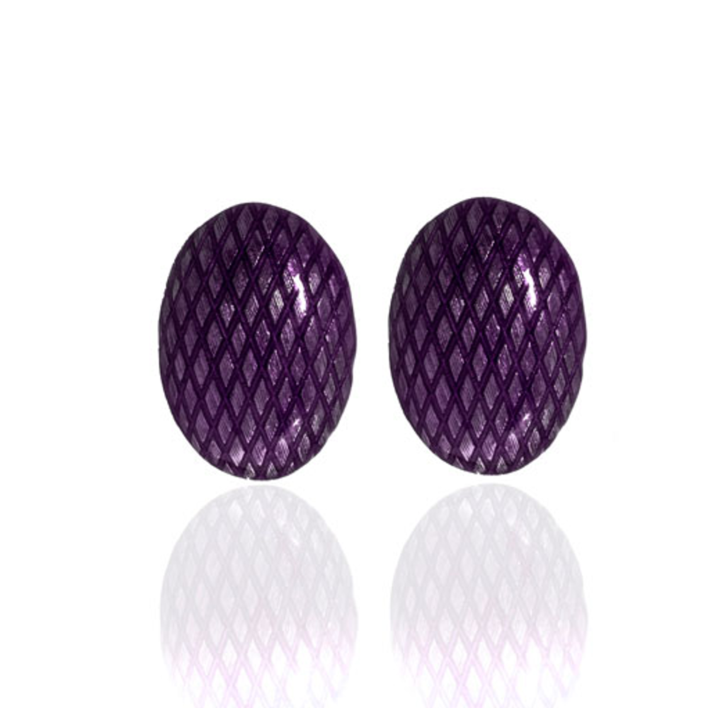 Snakeskin Amethyst Button Pierced Earrings