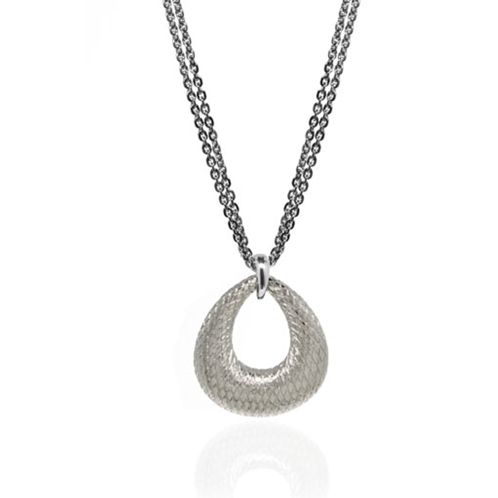 SnakeSkin Silver Open Tear Pendant Necklace
