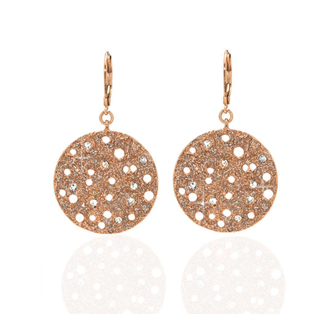 Stardust Radiance Rose Tone Crystal Disc Drop Earrings