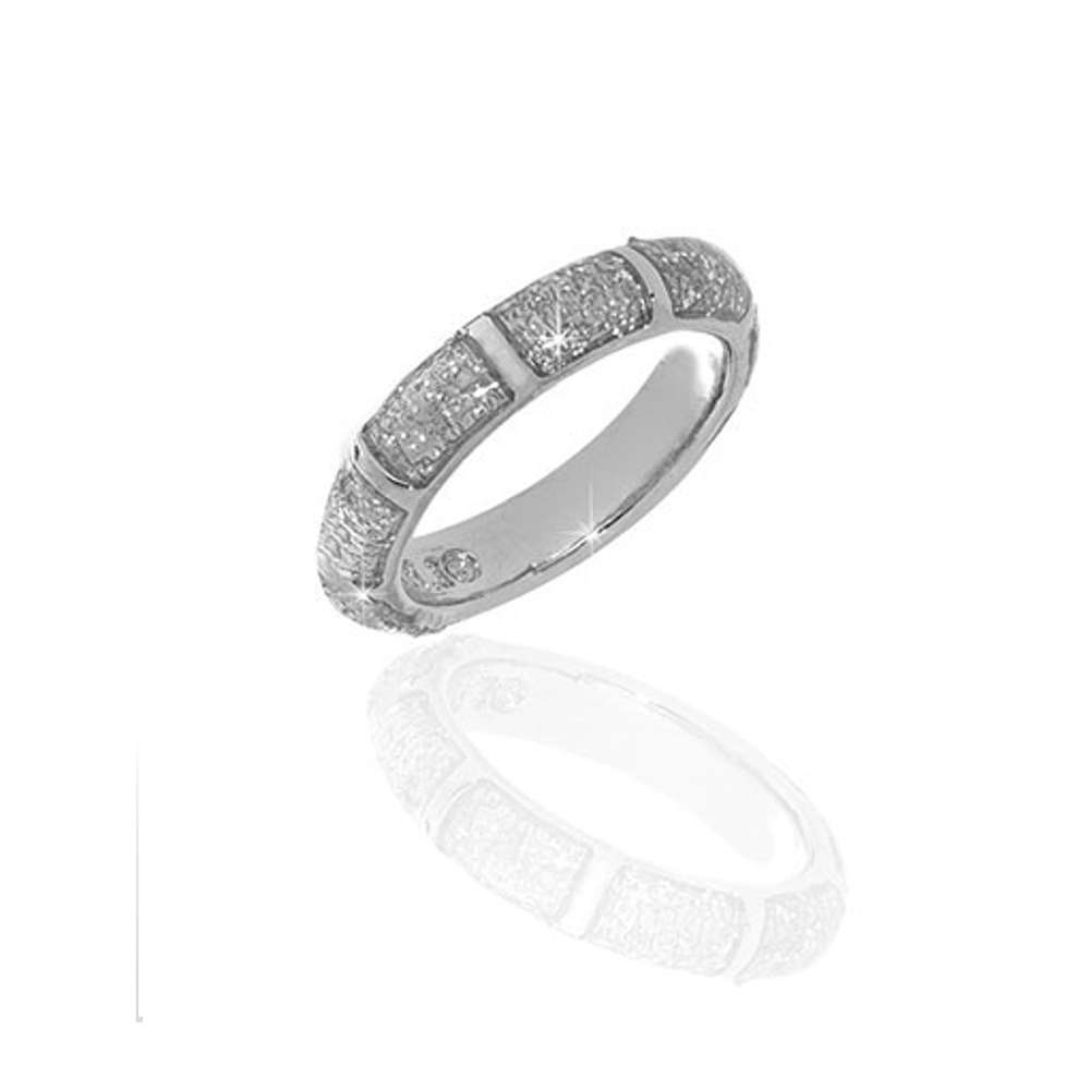 Silver Stardust Segmented Bamboo Ring