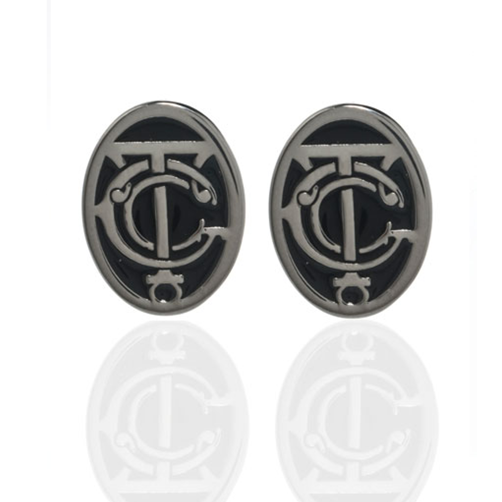 Grand Central Black and Silvertone Post Earrings