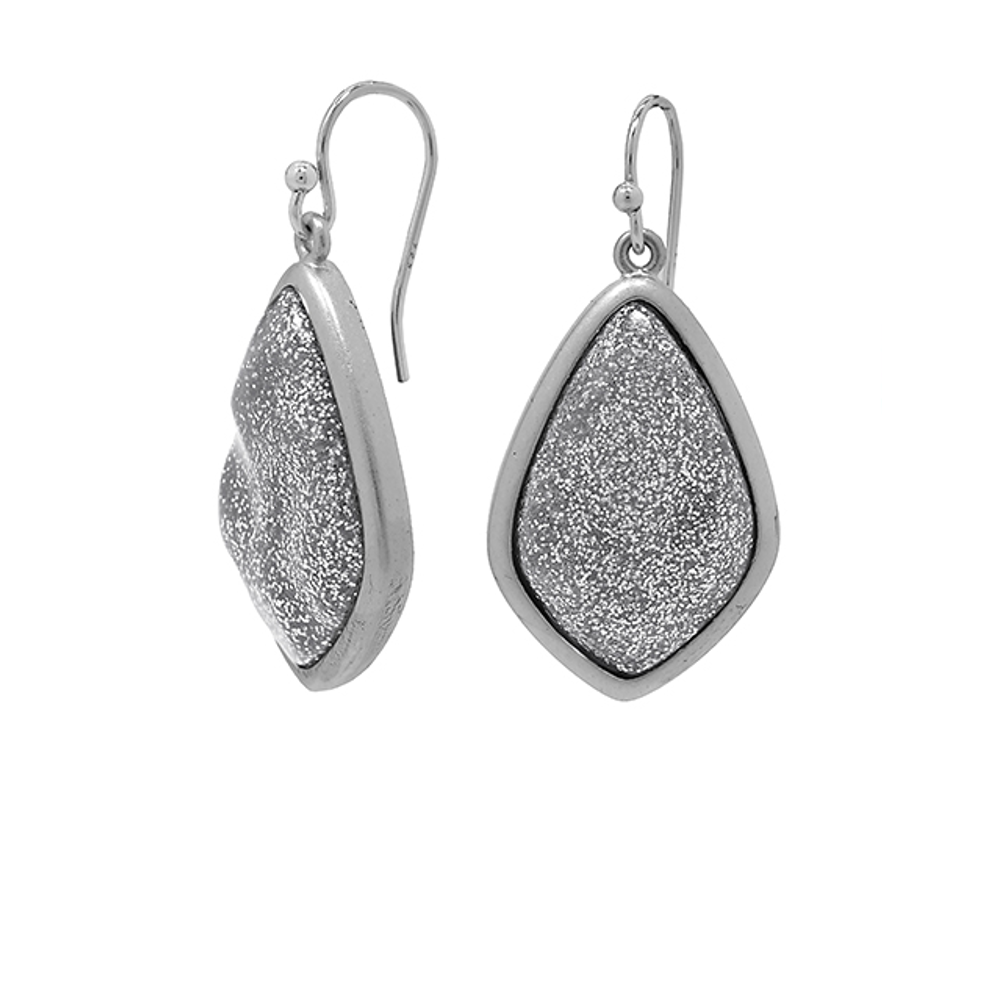 Matte Silver Celestial Stone Earrings