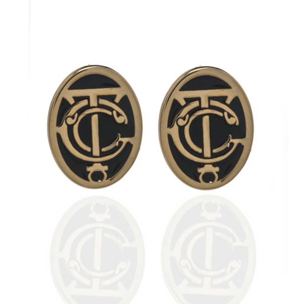 Grand Central Black and Goldtone Post Earrings
