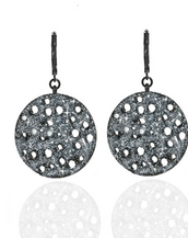 Stardust Hematite Textured Disc Earrings
