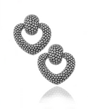 Berry Silver Tone Heart Drop Earrings
