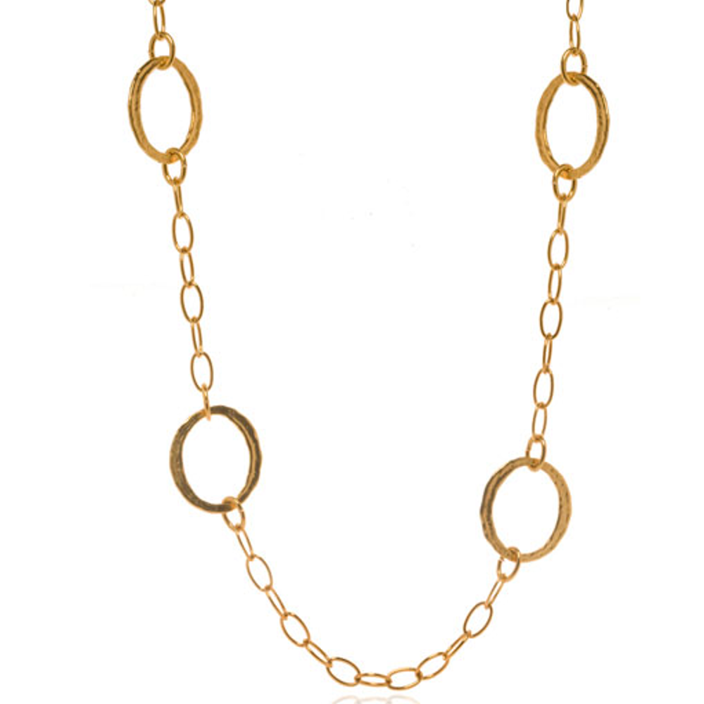 Molten Gold Circle Link Chain Necklace
