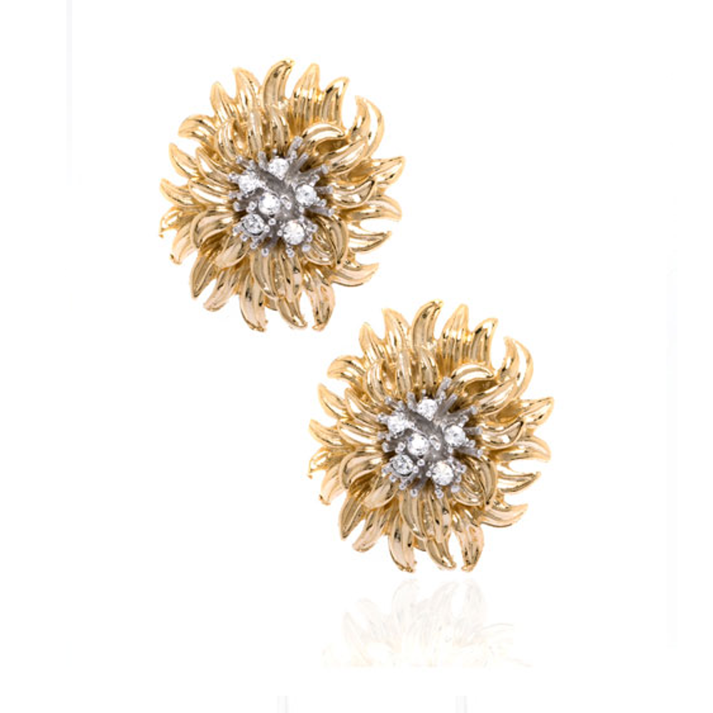 Chrysanthemum Flower Button Earrings