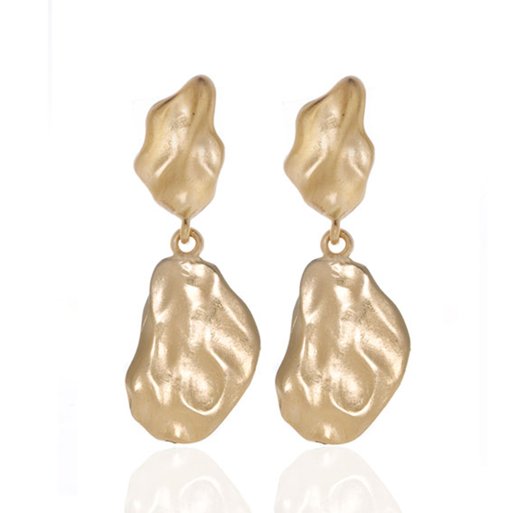 Gold Tone matte Drop Earring