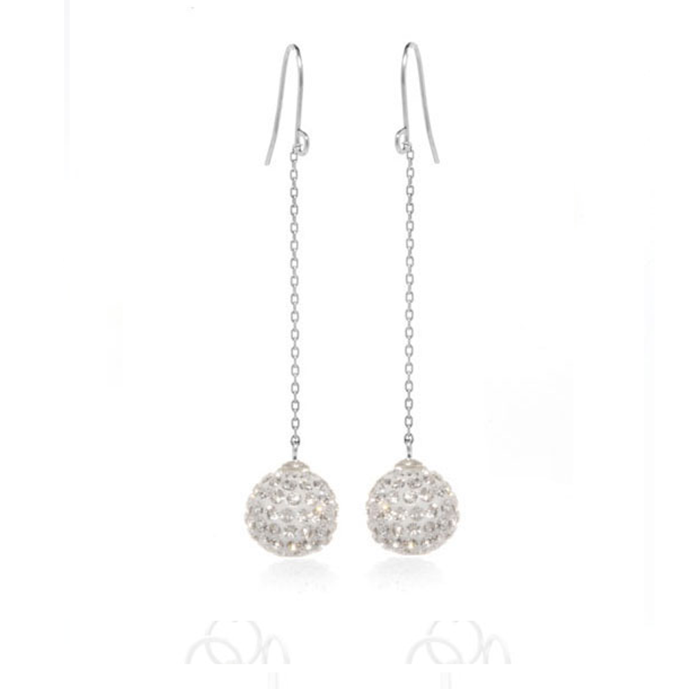 Clear Crystal Ball Drop Earrings