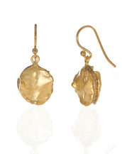 Matte Gold Tone Round Drop Earring on French Wire
