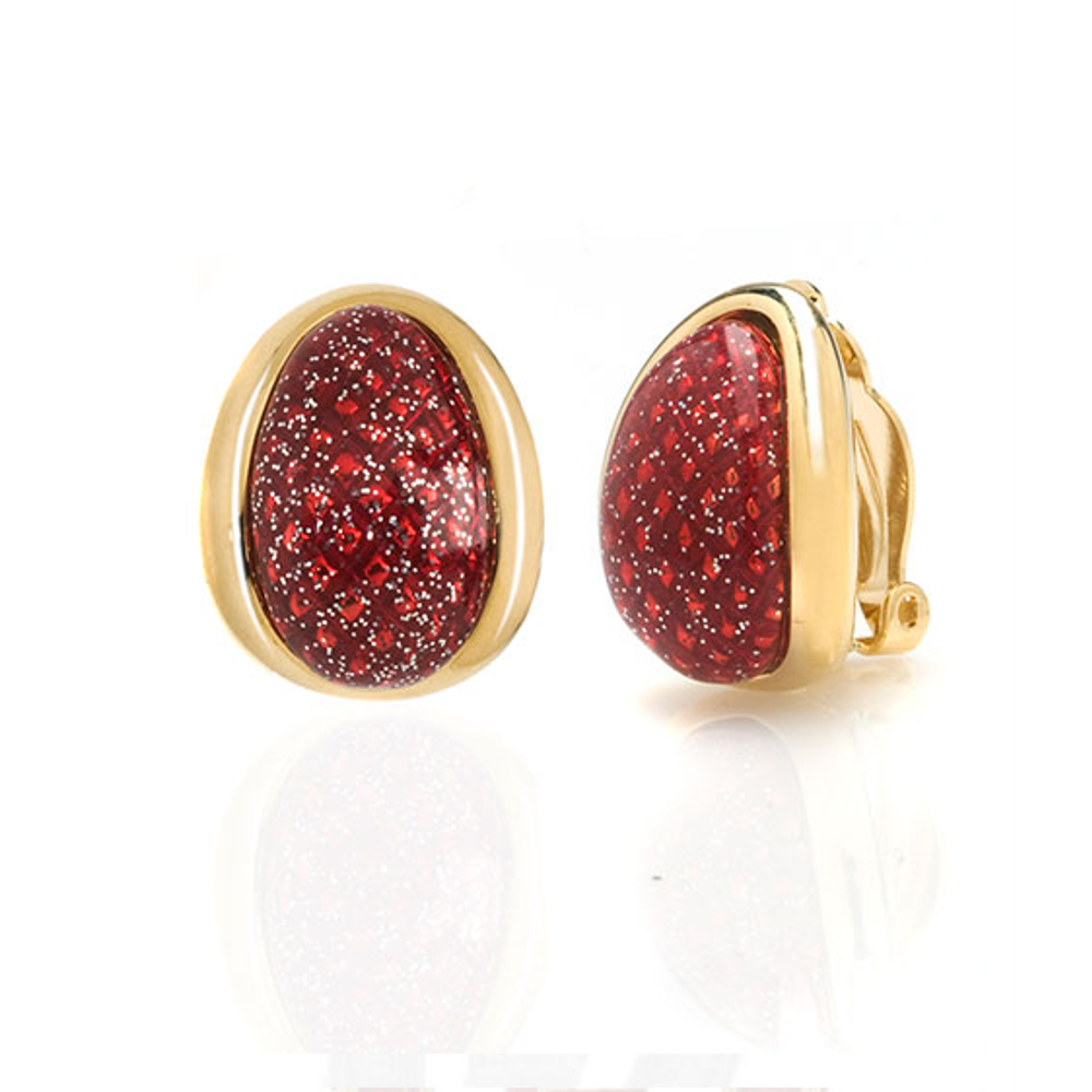 Sharkskin Goldtone Red Earrings